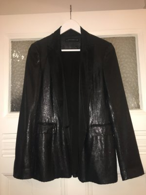 Zara Woman Veste de smoking noir polyester