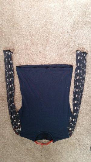 Kanten blouse blauw-wit Lycra