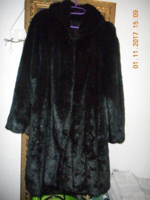 Abrigo de piel sintética marrón-negro
