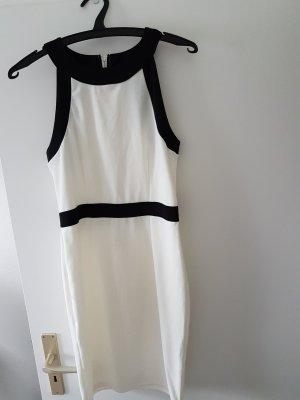 H&M Off the shoulder jurk wolwit-zwart Polyester