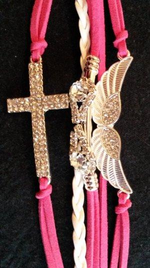 schickes Armband  neu  in pink/weiß mit 3 Anhänger  mit Strass Steine