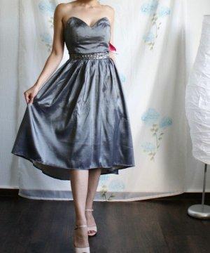 Schickes Bandeau Ball Kleid / Minikleid mit Herzausschnitt Trägerlos silber grau XS S