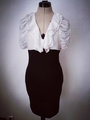 schickes Etuikleid schwarzweiß Highwaistrock + Bluse Optik
