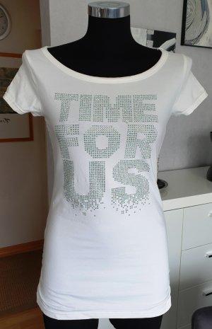 Schickes Glam Stretch T-Shirt Weiß XS