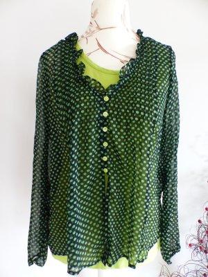 schickes grün schwarzes Langarm Shirt / Bluse mit Top von comma