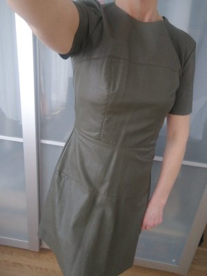 Leather Dress olive green