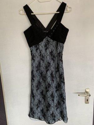 Angie Kanten jurk zwart-azuur