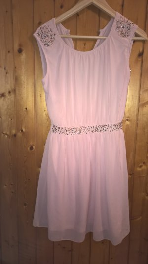 Robe épaules nues vieux rose polyester