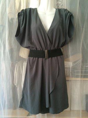 Schickes Kleid Gr. 38 mit Taillengürtel grau/anthrazit *Cocktail*