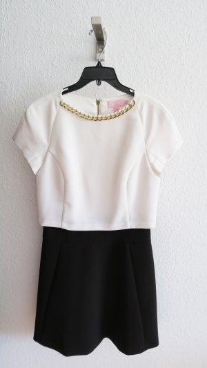 Schickes Kleid schwarz weiß mit eingenähter Goldkette
