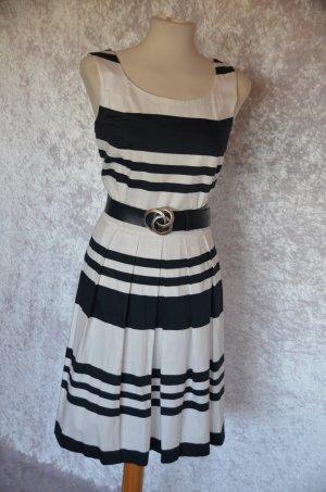 Ashley Brooke Vestido línea A blanco-azul oscuro tejido mezclado