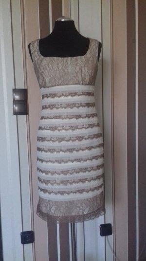 Schickes Kleid,weiß/Taupe, Gr.36