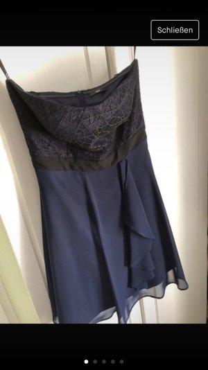 Schickes Kurzes Abendkleid Abschlussball Konfi trägerlos Navy dunkelblau Vera Mont S