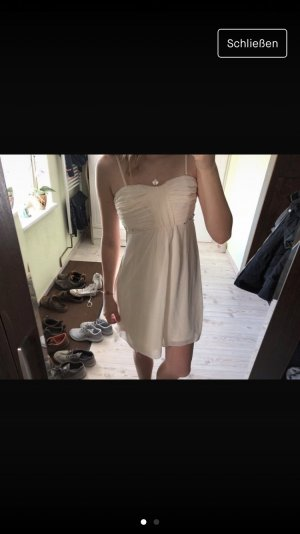 Schickes kurzes Kleid für Hochzeitsgäste Creme weiß Variabel trägerlos