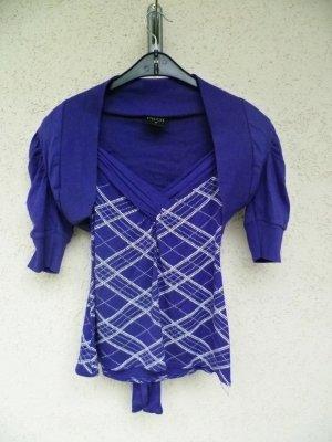 Schickes lila T-Shirt mit passendem Bolero mit Puffärmeln