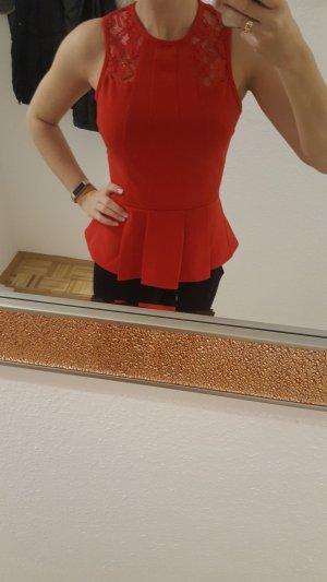 H&M Top de encaje rojo-rojo ladrillo