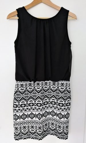 Apricot Vestido negro-blanco Poliéster