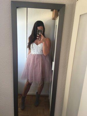 schickes Prom Kleid Abiball weiß grau mit flieder Ballerina Rock