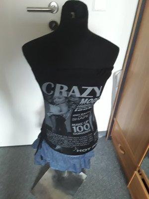 schickes schwarzes Bandeaukleid mit Print und Raffungen - Jeans - Größe S/M