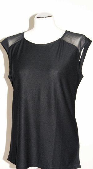 Schickes schwarzes Shirt mit Chiffon-Einsätzen - Ungetragen!