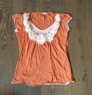 Camiseta blanco puro-naranja oscuro