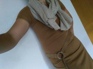 Schickes Shirt Kleid lang in camel-farbe lang & angesagt!