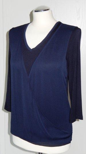 More & More Wraparound Shirt dark blue viscose
