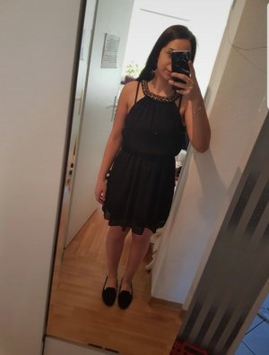 Danity Robe chiffon noir-doré