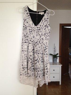 Vestido de encaje blanco-negro Algodón