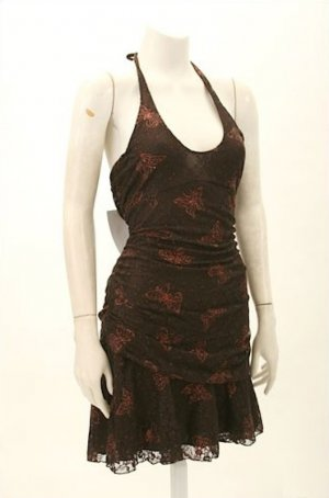 schickes Tanzkleid in Größe 36 Original Vintage 70er Jahre Neckholder Stretch Bronze