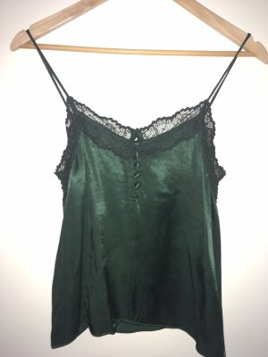 Mango Top in seta nero-verde