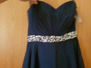 schickes vokuhila kleid in dunkelblau