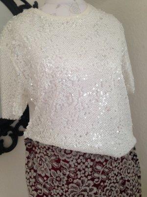 schickes weißes Pailletten-Shirt, Größe S von Zara