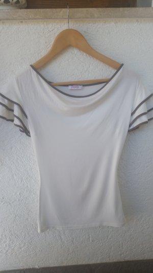 Schickes weißes Shirt Größe S/M mit Wasserfallausschnitt und raffinierten Ärmeln
