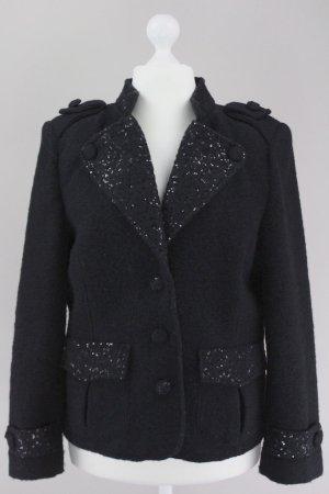 Schiffhauer Blazer Wolle mit Pailletten schwarz Größe XL 1709180580997