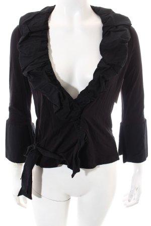 Schiffhauer Langarm-Bluse schwarz Casual-Look