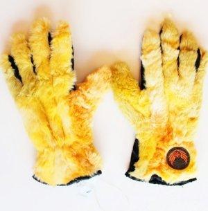 Gloves black-yellow fake fur