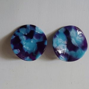 Schildplatt Acetat Ohrringe Blau
