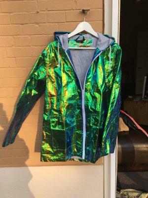 Schimmernde Regenjacke Jacke schimmernd festival bunt Verlauf Electro Techno Party  glänzend reflektierend grün blau kaputze