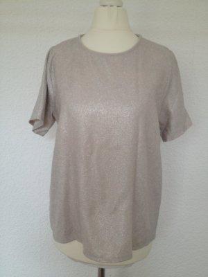 Schimmerndes Shirt | Weit geschnitten | gold/silber glänzend