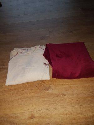 Pijama beige claro-rojo oscuro