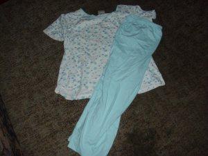 Pyjama white-turquoise cotton