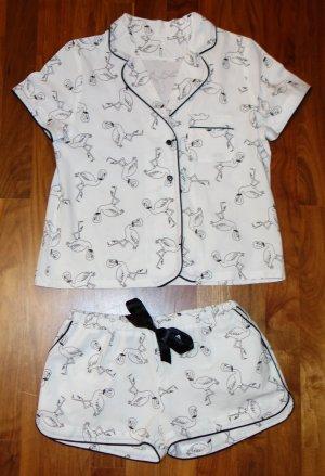 Pyjama white-black cotton