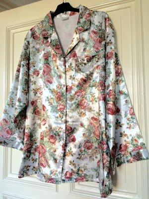Schlafanzug Oberteil Satin Pyjama Rosen Nachthemd Sleepwear Trend
