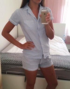 Schlafanzug Pyjama hellblau blau weiß Landhaus kurze Hose Baumwolle XS 34