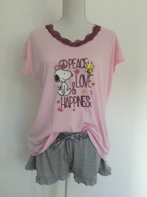 Schlafanzug Pyjama Nachtwäsche Peanut Peanuts rosa grau süß