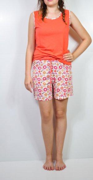 Schlafanzug Pyjama Orange Blumen
