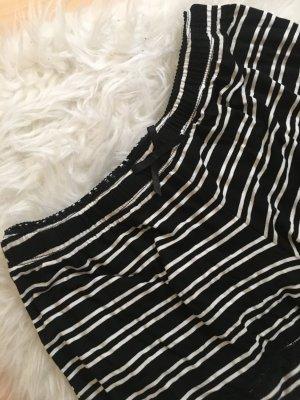 Schlafhose Pyjama Mini shorts kurze Hose schwarz weiß gestreift mit rüsche - Gr. M