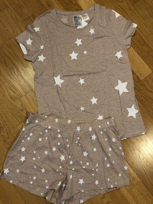 Schlafshirt mit Short Rosameliert Sterne Gr. S