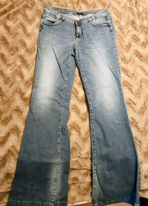 Sisley Jeans a zampa d'elefante blu fiordaliso